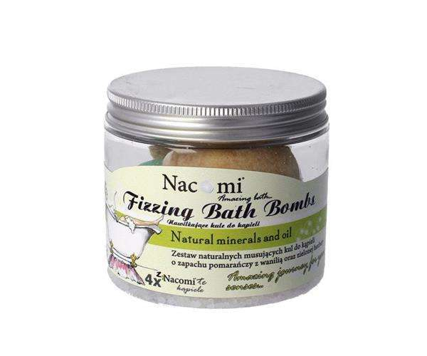 NACOMI_SET Fizzing Bath Bombs zestaw kul do kąpieli 2x Orange-Vanilla Ice Cream + 2x Refreshing Green Tea 330g